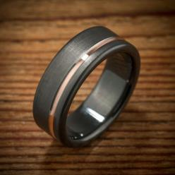 Men's Offset Rose Gold Stripe Black Zirconium Wedding Band made by Spexton.com:
