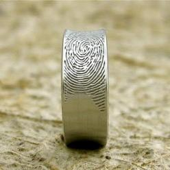 Men's Wedding Ring with Wife's Fingerprint: Wedding Ring, Wedding Ideas, Weddings, Fingerprints, Wedding Bands, Rings, Dream Wedding
