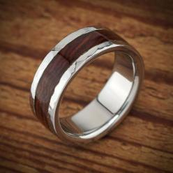 Men's wood wedding ring by Spexton.com, unusual wood and titanium ring that is waterproof and custom made to order.: Wood Wedding Bands, Hammered Cocobolo, Weddings, Band Hammered, Men Rings, Woods, Wood Wedding Rings