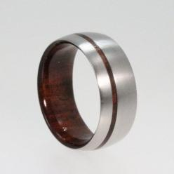 Mens Titanium Wedding band with a Wood sleeve by jewelrybyjohan, $195.00  I know you have his ring picked but.. its kinda cool!: Wedding Ring, Titanium Wedding Bands, Titanium Rings, Wood Pinstripe, Weddings, Bolivian Rose