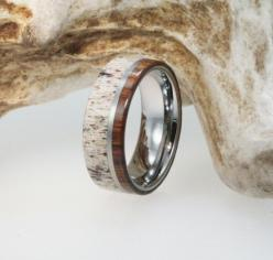 Mens Wedding Band - Titanium Ring Inlaid with Ironwood and Deer Antler - Natural Materials. $299.00, via Etsy.: Mens Antler Wedding Band, Mens Wedding Band, Mens Wood Wedding Band, Deer Antler Wedding Band, Mens Wooden Wedding Ring, Mens Wood Wedding Ring
