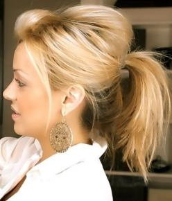 Messy Cute Ponytail Hairstyle for Medium Hair - Easy Everyday Hairstyles: