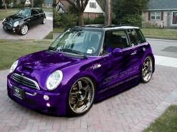 Mini Cooper S with wide body kit, bigger wheels, stunning purple chrome paint and graphics.: Mini Coopers, Color, Cars, Purple Passion, Minis