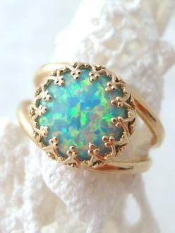 Mint opal ring | Gold plated ring | Gemstone ring by EldorTinaJewelry | http://etsy.me/1INOrEE: Gemstone Rings, Jewellery, Vintage Rings, Opal Rings Vintage, Gold Rings, Gold Opal Ring Vintage, Opal Rings Gold