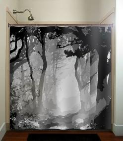 misty shades of gray woods forest tree shower curtain bathroom decor fabric kids bath white black custom duvet cover rug mat window: Showers, Tree Shower Curtains, Black And White Shower Curtain, Trees, Duvet Cover, Grey Shower Curtains, Curtain Bathroom