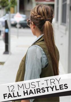 Must-Try Fall Hairstyles From Pinterest: Pony Tail, Hairstyles, Make Up, Hair Styles, Makeup, Braids, Braided Ponytail