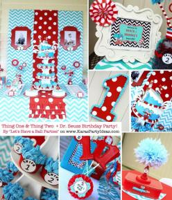 NANCY ! - Thing One & Thing Two Dr Seuss Themed Birthday Party for twins via Kara's Party Ideas karaspartyideas.com: Birthday Parties, 1St Bday, Seuss Birthday, 1St Birthday, Seuss Party, Dr. Seuss, Birthday Party Ideas, Baby Shower, Dr Seuss