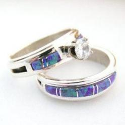 Native American Bridal Wedding Ring Set Size 7 3/4 Purple Fire Opal Cubic Zirconia by Wilbert Muskett Jr. - Four Corners USA Jewelry NAR09590: Wedding Ring Engagement, American Indian, Wedding Ideas, Dream Wedding, Bridal Wedding, Wedding Rings