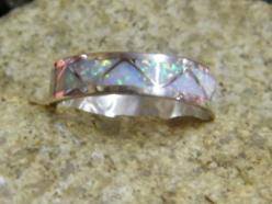 Native American Navajo Indian Opal Inlayed Wedding Band Ring Sterling | eBay: Native American Jewelry, Inlayed Wedding, Opal Inlayed, Native American Wedding, Wedding Bands, American Weddings, Wedding Rings, American Navajo