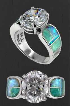 #NativeAmericanJewelry - Amazing Light Inlay Ring Designed by David Rosales. This features created opal and amazonite inlay with a large white topaz. This is a size 8 but we can have another made in a size that will fit you. Just let us know! http://stage