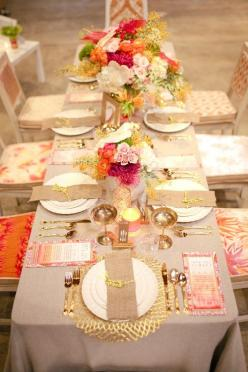 Natural linens with golds pinks and corals would make for a gorgeous afternoon luncheon. #party: Tablesettings, Table Settings, Wedding Ideas, Color, Weddings, Tablescapes, Event, Gold