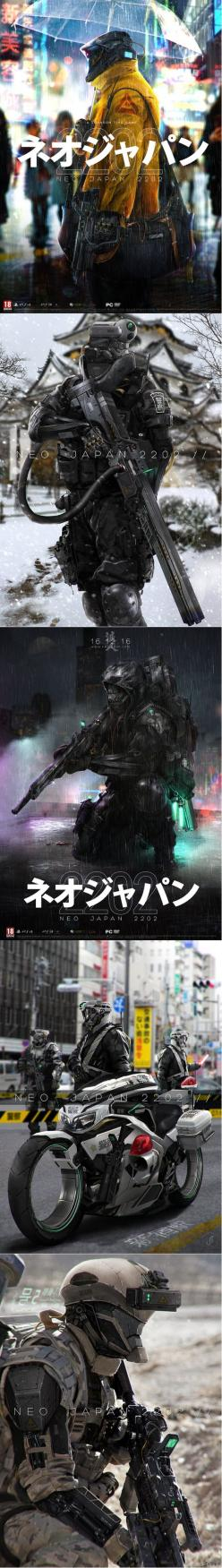 NEO JAPAN 2202 by Johnsonting deviant art. http://johnsonting.deviantart.com/art/NEO-JAPAN-2202-KIKAI-YOHEI-436385738: Futuristic Soldier, Deviantart, Deviant Art, Mecha, Concept Art, Johnsonting Deviant, Scifi