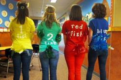Newcastle Elementary staff members—like these third-grade teachers—got into the spirit of Read across America Week by dressing like their favorite book character on February 29.: Fish Costume, Dr Seuss Costume, Halloween Costumes, Costume Ideas, Book Char