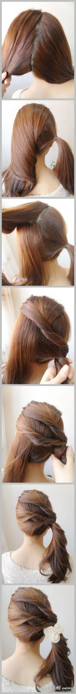 nice braid alternative: Pony Tail, Idea, Make Up, Hairstyles, Hairdos, Hair Styles, Makeup, Hair Twist, Side Ponytails