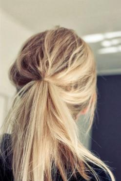 No. This girl's messy ponytail is perfect. Mine look like I slept on barbed wire and then rolled around in a field.: Pony Tail, Hairstyles, Messy Ponytail, Messy Hair, Hair Styles, Makeup, Hair Beauty, Blond, Hair Color
