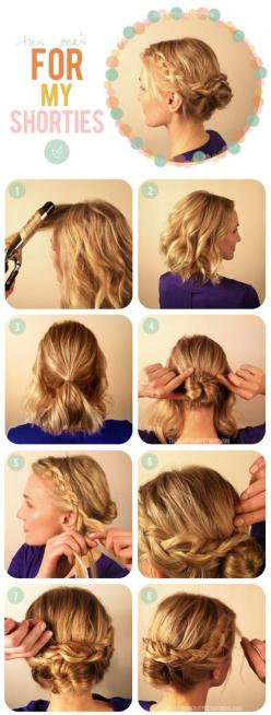 Not sure if I could pull this off..... Easy hairstyle for medium length hair: Short Hair, Make Up, Hairstyles, Hair Styles, Hairdos, Braided Bun, Updo