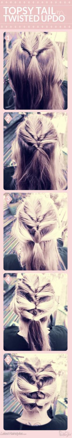 Not sure if my hair will be long enough for this, but it looks pretty cool!: Tail Twisted, Pony Tail, Twisted Updo, Hairstyles, Hairdos, Hair Styles, Hair Tutorial, Updos