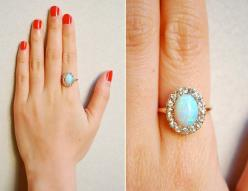 October birthstone. Opal jewlery ring LOVE IT! I would love this   OMG OMG OMG.: Engagement Rings Opal Diamond, Vintage Opal Ring, Opal And Diamond Ring, October Birthstone, Opal Engagment Ring, Vintage Opal Engagement Ring, Opal Wedding Rings, Opal Vinta