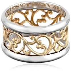 ON SALE AT http://jewelrydealsnow.com/?a=B00L7IZ5FO - Gold over Sterling Silver Filigree Band Ring: Ring Sizes, Filigree Rings, Band Rings, Sterling Silver Filigree, Gold Bands Rings, Filigree Ring Band