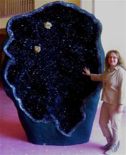 One of the world's largest amethyst geodes, the Empress of Uruguay, is located in Australia's Crystal Caves. It stands an incredible 11 ft tall and is filled with magnificent, deep violet crystals.: Alarming Eleven, Violet Crystals, Worlds Largest