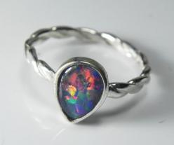 Opal Ring - Genuine Opal Stack Ring - Stacking Ring - Real Black Opal Triplet Jewelry - Sterling Silver AAA Opal Triplet- Fiery Rainbow. $69.00, via Etsy.: Opal Rings, Fiery Rainbow, Black Opal, Triplet Jewelry, Stacking Rings, Aaa Opal, Opal Stack