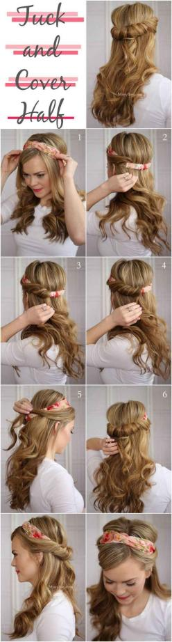 Or do the tuck and cover. | 26 Lazy Girl Hairstyling Hacks: Hair Ideas, Hairstyles, Hairdos, Hair Styles, Makeup, Hair Tutorial, Hair Do, Cover Half, Tuck And Cover