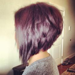 Orchid and merlot with a choppy stacked cut. I LOVE THIS CUT AND COLOR!: Short Hair, Hairstyles, Inverted Bob, Hair Styles, Color, Hair Cut, Haircut