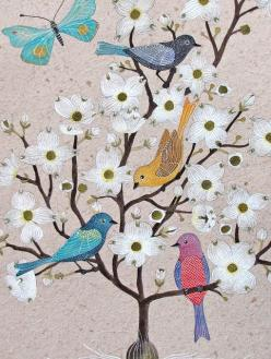 Oregon Dogwood trees have always been one of my favorites. This piece is so warm and happy. Loved it! ❤: Bird Paintings, Beautiful Painting, Geninn To Zlatkis, Art Birds, Bird Art, Dogwood Finished