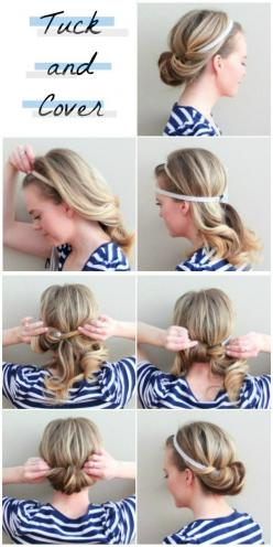 Otherwise Known as the Two-Minute Tuck | 23 Five-Minute Hairstyles For Busy Mornings: Hairstyles, Hair Styles, Hairdos, Hair Tutorial, Hair Do, 5 Minute Hairstyle, Updo, Tuck And Cover, Five Minute Hairstyle