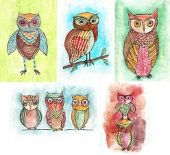 owls by Alisa Burke: Diy Paintings Art, Alisa Burke, Art Alisa, Awwww Owls, Animals Owls, Illustrations Owls, Flats, Products