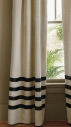 Pair of  linen curtains drapes, panels, oatmeal with black grosgrain ribbon: Idea, Add Grosgrain, Drop Cloths, Living Room, Cloth Curtain, Window Treatments, Linen Curtains, Plain Curtains