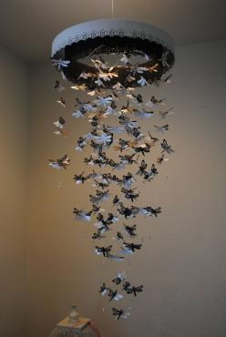 Paper Lace Chandelier Dragonfly Mobile - black and white - Made to order: Craft, Idea, Paper Lace, Dragon-Fly, Butterfly Mobile, Chandelier Dragonfly, Dragonfly Mobile