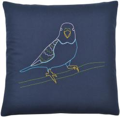 Parakeet Pillow: Parakeets, Dark Parakeet, Parakeet Embroidered, Embroidered Pillows, Parakeet Pillow, Products, Pillow Kstudio