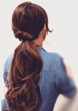 Partly twisted ponytail for long hair: Long Hair Updo, Easy Lazy Hairstyles, Hair Tutorials, Low Ponytail, Hair Styles, Long Brunette Hairstyle, Hairstyles For School
