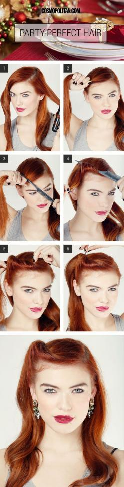 Party Hair How To - Party Hair Tutorial - Cosmopolitan: Party Hair, Idea, Hairstyles, Hair Tutorials, Hair Styles, Vintage Hair, Makeup, Beauty