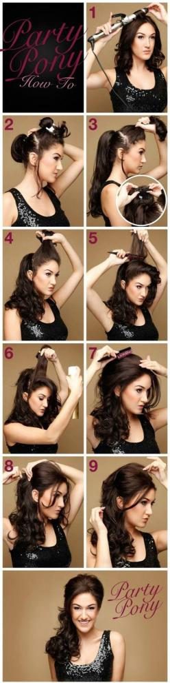 party hairstyle // took me a minute to figure out what she was doing in step 3...she's clipping extensions, I think. It looks like her hair is actually shoulder length (which means I COULD do this!): Pony Tail, Hairstyles, Wedding Hair, Hairdos, Hair