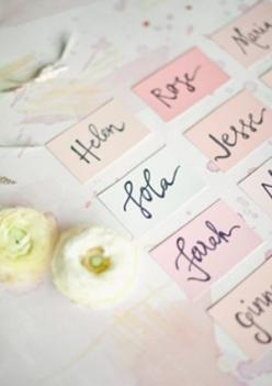 Pastel Wedding Stationery Inspiration via Oh So Beautiful Paper: http://ohsobeautifulpaper.com/2014/04/wedding-stationery-inspiration-pastels/ | Place Cards: Erica Loesing via 100 Layer Cake | Photo: Photo Harwell Photography #pastel #wedding: Wedding Ins