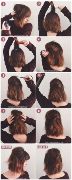 Pin Ups: Quick & Easy Hair style | knittedbliss.com: Hairstyles, Half Up, Hairdos, Hair Styles, Diy Short, Hair Tutorial, Short Hair Style, Bob Hair Style, Short Hair Do