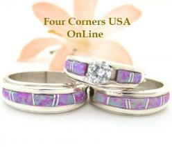 Pink Fire Opal Inlay Bridal Engagement Wedding Ring Sets | Four Corners USA OnLine Native American Jewelry http://stores.fourcornersusaonline.com/pink-fire-opal-wedding-band-ring-sets/: American Wedding, Wedding Ring, American Indian, Wedding Ideas, Weddi