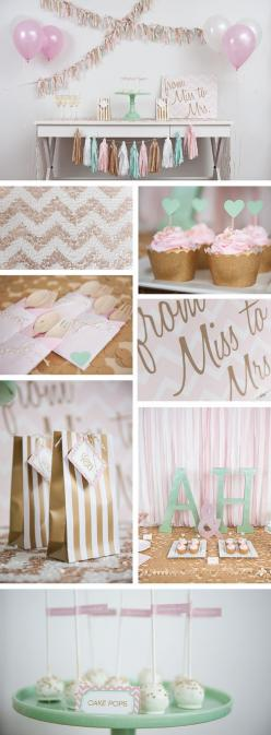Pink, mint, and glitter gold themed bridal shower and decorations for a very glam party.: Bridal Shower Decoration, Bridal Shower Table, Bridal Shower Theme, Wedding Shower Theme, Bachelorette Party Decoration, Themed Bridal Shower, Bridal Shower Banner,