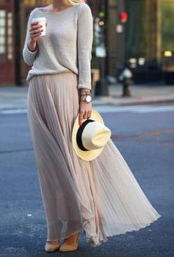 Pleated skirts are everywhere at thrift stores. Pair with linen sweater to recreate this easy summer look.: Sweater, Fashion, Street Style, Maxiskirt, Outfit, Maxi Skirts