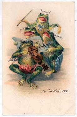 Postcard with frogs, 1899: Fab Frogs, Frog Prints, Favorite Frogs Critters, Logo, Frogs Illustrations Paintings, Felicia S Frogs, Frog S Print, Photo, Frog Postcards