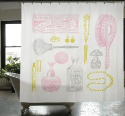 Powder room shower curtain, from izola.com: Showers, Idea, Canvas Shower, Room Shower, Shower Curtains, Bathroom, Products, Powder Rooms, Canvases