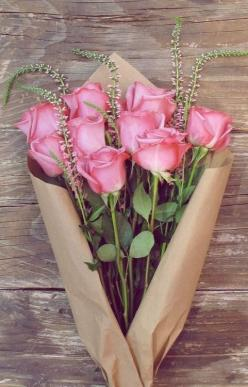 pretty roses 9, long thin plain flowers 5, plain paper wrap triangular: Pink Roses, Bloom, Pink, Flowers, Garden, Flower