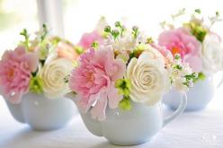 Pretty teapot flower arrangements , great for a baby shower or kitchen tea| Diane Phillips, dkdesigns, via Flickr: Idea, Tea Pot, Flower Arrangements, Teapot Flower, Flowers, Pretty Flower, Baby Shower