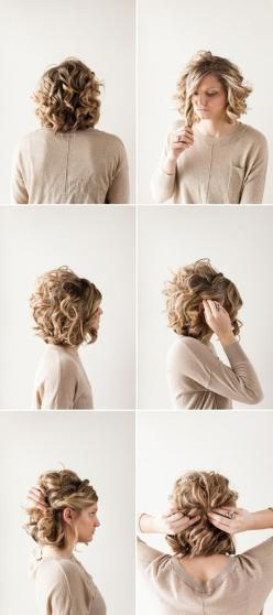 Pretty Updo Hairstyle for Short Curly Hair: Prom Hairstyle Ideas: Hairstyles, Hair Styles, Curly Hair Half Updo, Hair Do, Short Hair Half Updo, Bob Updo, Curly Bob, Hair Twist