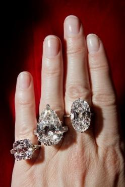 Priceless diamonds in South Africa -  From the left to the right in order: 30 kt, 20 kt, 12 kt.: Diamond Rings, Rare Diamonds, 16 04 Carats, Jewelry, Engagement Ring, Jewels, Bling Bling, 9 69 Carats