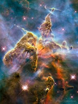PrintCollection - Carina Nebula Mountaintop: Bizarre Landscape, Carina Nebula, Final Frontier, Beautiful, Abyss, Space, Astronomy, Galaxy