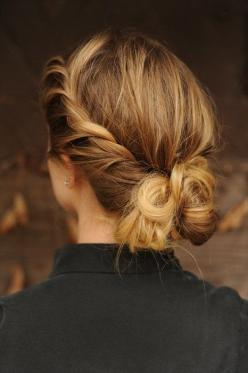 pulled back up do: Hairstyles, Messy Bun, Hair Styles, Makeup, Beauty, Updo