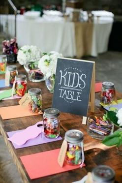 Put crayons at the kids table. | Christine?  I've done this before and it went over really well.: Wedding Ideas, Child Table, Wedding Reception, Dream Wedding, Kid Table, Kids Table, Weddingideas